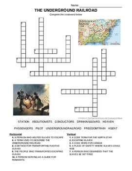 UNDERGROUND RAILROAD CROSSWORD- MARTIN LUTHER KING DAY AND BLACK HISTORY MONTH!