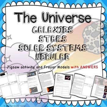 UNIVERSE: Galaxies, stars, solar systems & nebula JIGSAW WORKSHEETS + BOARD GAME