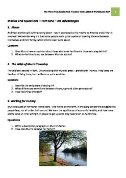 THE VIEW FROM CASTLE ROCK -Alice Munro Teacher Text Guides and Worksheets