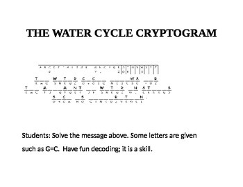 THE WATER CYCLE CRYPTOGRAM