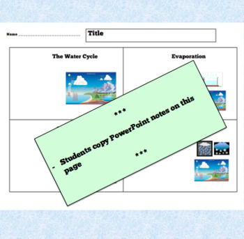 THE WATER CYCLE – PowerPoint + Review Questions + Handout