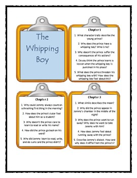 THE WHIPPING BOY by Sid Fleischman - Discussion Cards