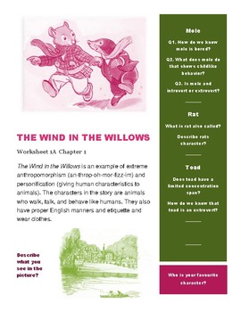 THE WIND IN THE WILLOWS  Worksheet 1A of Chapter 1