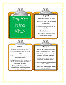 THE WIND IN THE WILLOWS by Kenneth Grahame - Discussion Cards