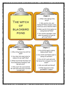 THE WITCH OF BLACKBIRD POND by Elizabeth George Speare - Discussion Cards