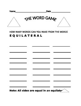 THE WORD GAME- EQUILATERAL