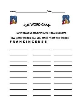 THE WORD GAME-FRANKINCENSE (THREE KINGS DAY)