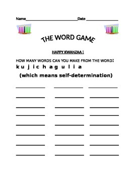 THE WORD GAME: KUJICHAGULIA
