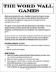 Vocabulary review game, word wall, fun stuff, games, drawing, acting