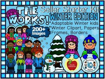 WINTER CLIPART-THE WORKS! SELLER STARTER BUNDLE 200+ IMAGES