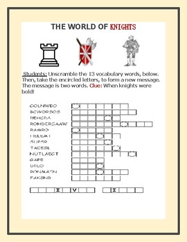 THE WORLD OF KNIGHTS: A VOCABULARY JUMBLE PUZZLE
