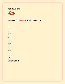 MAGNETS: A TRUE/ FALSE QUIZ:GRADES 4-8, MG
