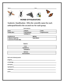 THE WORLD OF POLLINATORS: A NOMENCLATURE ACTIVITY