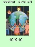 THE WORLD, PIXEL ART, CODING. 20 SCHEETS 10 X 10, POSTER