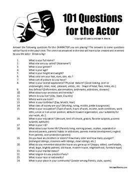 THEATRE RESOURCE: 101 Questions for the Actor