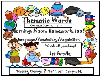 THEMATIC WORDS - Morning, Noon, Homework, too!  1st Grade