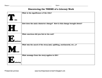 THEME ~ An Acronym Graphic Organizer by TeachingResourceResort | TpT