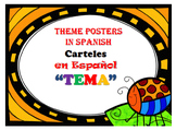 """THEME Posters in SPANISH """"TEMA"""" including Theme Organizer"""