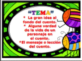 "THEME Posters in SPANISH ""TEMA"" including Theme Organizer"