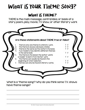 """THEME Project """"What is Your Theme Song?""""-Exploring Literary Terms through Songs!"""