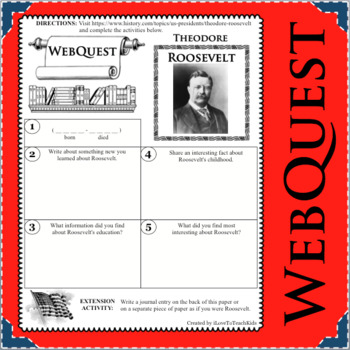 THEODORE ROOSEVELT WebQuest Research Project Biography Notes Graphic Organizer