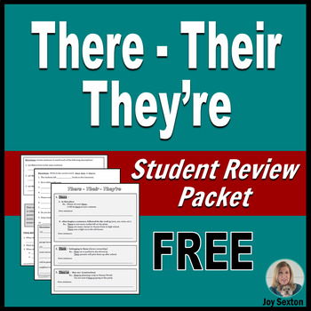 THERE-THEIR-THEY'RE Student-Ready Review Packet - ELA Free