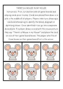 THERE'S A MOUSE IN MY HOUSE - BLENDS, DIAGRAPHS AND DIPHTHONGS GAME - US FONT