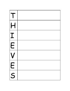THIEVES - Reading Nonfiction Strategy