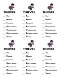 THIEVES bookmark checklist