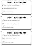 THINGS I NEVER TOLD YOU - End of the Year Activity