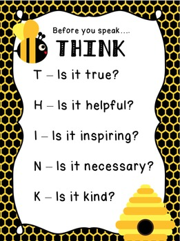 THINK Acronym Printable - Bee Theme