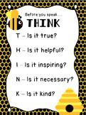THINK Acronym Printable - Bee Theme