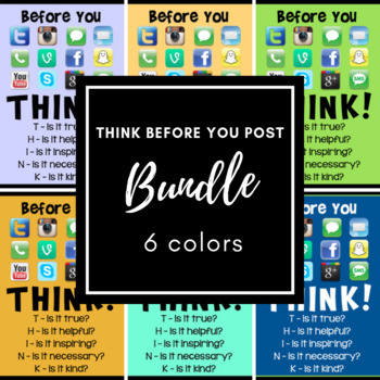 THINK Before You Post - Colored Poster Bundle