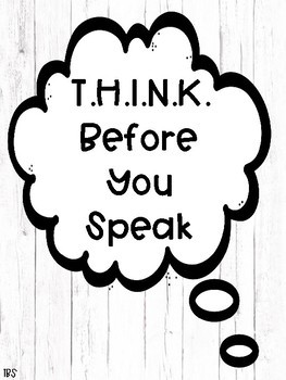 THINK Before You Speak - Classroom Decor