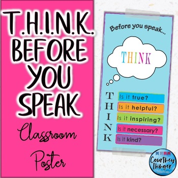 THINK Before You Speak Colorful Classroom Poster