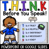 THINK Before You Speak Lesson With Distance Learning Option