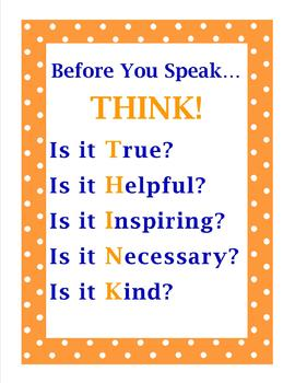 THINK Before You Speak Poster FREEBIE