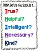 THINK Poster - Is It True, Helpful, Intelligent, Necessary or Kind?