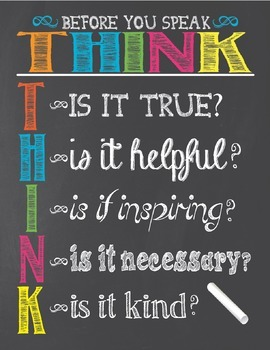 Chalkboard Themed THINK Poster