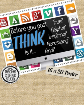 THINK Poster Computer edition - Technology Think Before You Speak Poster