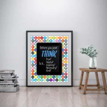 THINK Poster IPad edition - Technology Think Before You Speak Poster