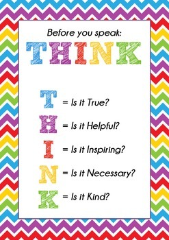 THINK Poster - Is it True, Helpful, Inspiring, Necessary, Kind? Make Kids Think!