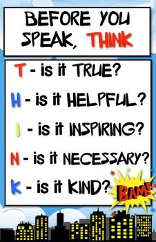THINK Poster - Superhero Theme