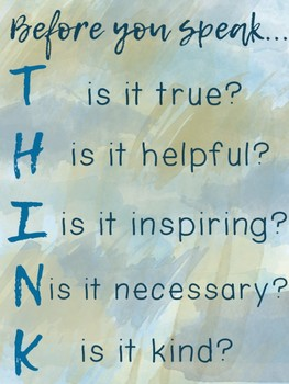 THINK Poster {Watercolour Theme} Promote kindness and friendship