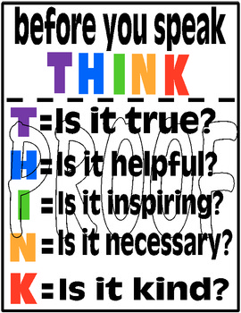 Think Poster Prevent Gossip In Your Classroom By Lt