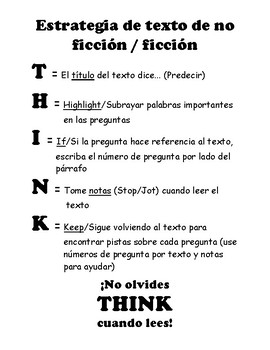 THINK STAAR Strategy Spanish