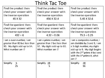 THINK TAC TOE 6TH GRADE MATH NUMBERS AND OPERATIONS FRACTIONS SIMPLIFY