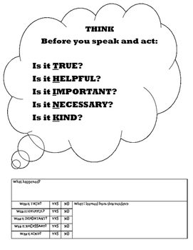 THINK before you act/speak reflection sheet