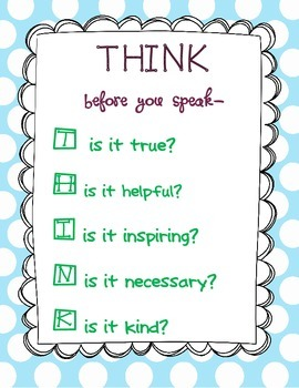 THINK before you speak poster polka dot and cheveron