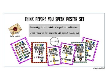 THINK before you speak poster set